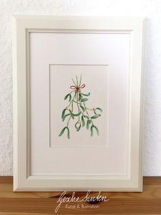 Weihnachten - Original Aquarell - Weihnachtlicher Mistelzweig - ein Designerstück von Gesche-Santen bei DaWanda