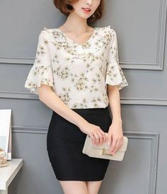 Slim fashion chiffon shirt spring tops for women