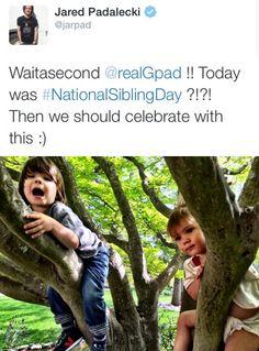 Jared Tweet: Tom and Shep #NationalSiblingDay