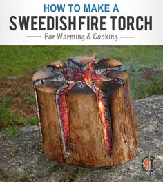 """In this video, you'll learn how to make the """"Swedish Fire Torch"""", which is perfect for quick cooking. It's small, well contained, and burns very hot"""