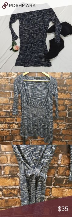 !FLASH SALE! Tie wrap cardigan sweater Small Beautiful blue, black amd gray heathered cardigan.  Tie wrap and 3/4 sleeves. Adorable with jeans and booties or dress up with that little black dress! INC International Concepts Tops