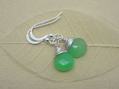 May Birthstone  Silver Drop earrings  Chrysoprase  gift for her ladies May birthday present