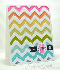 handmade card from Mama Mo Stamps ... chevron cover plate  from Paper Trey Ink ... light and bright colors in a rainbow range, but not the basics ... luv how pretty these colors look with white ... great card!!