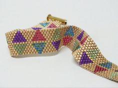 Beadwoven Peyote Bracelet of Pastel Colors by RubyMoonBeadweaver