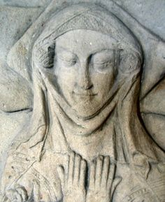 Caul or fret showing beneath veil and wimple, Matilda Fitzalan, 1340, Danby Wiske