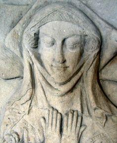Caul or fret showing beneath veil and wimple, Matilda Fitzalan, 1340, Danby Wiske