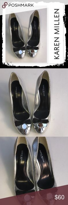 Karen Millen Bejeweled Silver Heels Size 7 (37) gorgeous silver snake patterned heels with black bows and bejeweled toe. Has one small scuff on back or right heel other than that in excellent condition Karen Millen Shoes Heels