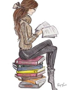 *✿**✿**✿**✿*✿** illustration of woman reading Reading Art, Woman Reading, Girl Reading Book, Book Drawing, Drawing Girls, Drawing People, Leo Valdez, Literature Books, Stack Of Books