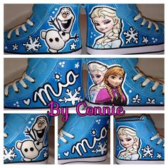 Frozen Anna and Elsa Blue Sneakers on Etsy, $50.00