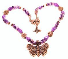 Purple jade teardrop gemstone butterfly necklace w/ amethyst chips, pink glass & copper accents. http://www.navahadijewelry.com/2016/12/purple-jade-teardrop-gemstone-butterfly.html