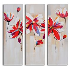 TJie Art Hand Painted Mordern Oil Paintings Daliance of Red Florals 3-Piece Canvas Wall Art Set Cheerful floral painting in modern style,Artist-painted using acrylics on canvas,Three-piece artwork comes gallery stretched on wooden frames, TJie Art http://www.amazon.com/dp/B00Y2L3ZC8/ref=cm_sw_r_pi_dp_s-qEvb1FNKT69