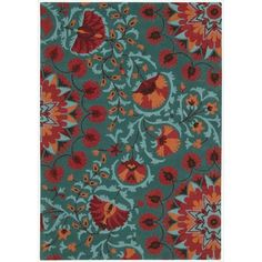 Add a breath of fresh air to any interior with this teal, orange, black and red colorful and magnificently textured rug. Hand-tufted from 100 percent wool, this rug features a cut and loop pile and bright floral-themed patterns.