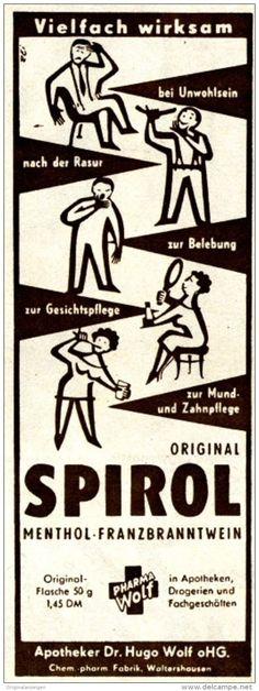 Original-Werbung/ Anzeige DDR / GDR 1958 - SPIROL MENTHOL-FRANZBRANNTWEIN / PHARMA WOLF WALTERSHAUSEN - ca. 55 x 155 mm
