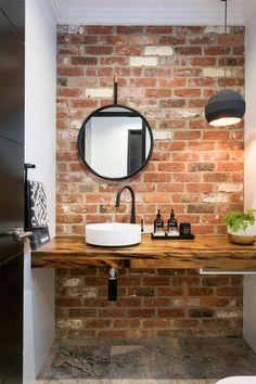 20 Masculine Bathroom Ideas With Exposed Brick Walls Bathroom Decor Ideas Bathroom Brick Exposed Ideas Masculine walls Small Bathroom Sinks, Shower Wall, Small Sink, Exposed Brick Walls, Brick Tiles Bathroom, Brick Bathroom, Small Bathroom, Bathroom Tile Designs, Bathroom Design