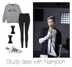 """""""Study date with Namjoon"""" by bts-outfit-imagines ❤ liked on Polyvore featuring adidas, Topshop and Marc by Marc Jacobs"""