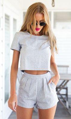 #Summer #Outfits / Grey Crop Top + Grey Short