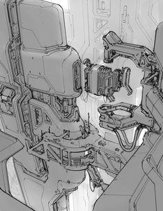 Ship constuction by Prog Wang. (via ArtStation - ship constuction, Prog Wang)  More sketches here.