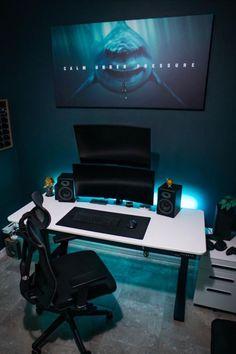 Computer Desk Setup, Pc Gaming Setup, Pc Setup, Room Setup, Home Office Setup, Office Desk, Black Desktop, Modern Office Design, Next At Home