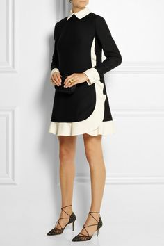 Valentino - Black and ivory wool and silk-blend crepe Concealed hook and zip fastening at back 68% wool, 32% silk; lining: 100% silk Dry clean