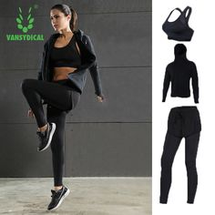 (51.90$)  Buy here  - Vansydical 2017 Sport Yoga suits autumn winter sportswear fast dry gym clothes fitness jogging femme running sets for women 3pcs
