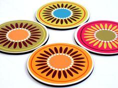 Coaster set Holiday decor christmas coasters hostess gift neon bright flowers orange pink. $19.00, via Etsy.
