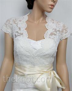 Tulip Bridal     WJ005    Ivory bolero features Alencon lace. Available in small, medium, large, or extra large sizes.