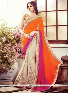 Unique Georgette Cream And Orange Patch Border Work Designer Saree Model  YOSAR3750