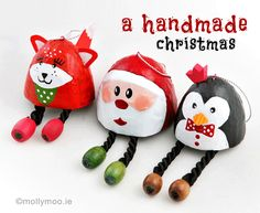 Fun and cute easy to make papier mache christmas tree ornaments – Santa, Fox and Penguin. From a simple egg shaped papier-mache shell the options for decorating are limitless. Photos and instructions on how to make on http://mollymoo.ie/2012/12/handmade-christmas-decorations/