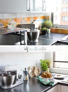 SMART TILES - Removable, peel-and-stick subway tile. The kind you can install over your existing tile in an afternoon, without any special tools or tricks. It sounds like the stuff legends are made of, doesn't it? But it's real, you guys. So real. Check out Smart Tiles.