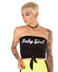 87bfe5cba3 Baby Girl Tie Front Tube-Black-Rave Rave Tops