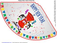 Happy New Year Party Hat http://www.kidscanhavefun.com/new-years-activities.htm #newyear #party #hat