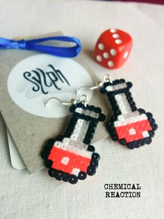 Cerise colored bright pink pixelart Chemical Reaction potion earrings for a biologist, chemist or a labrat in retro style by SylphDesigns on Etsy