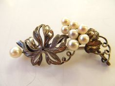 Vintage 800 Silver Grapevine Brooch with by christinasvintagery, $32.00