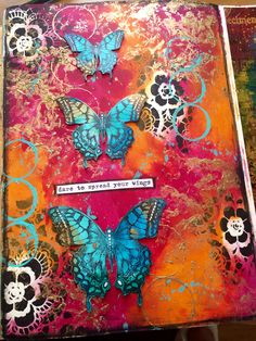 Just love Dina's cheddar and fuchsia colour combo with a splash of turquoise !!! @dinawakley @ranger_ink @tim_holtz #art #artjournal #artjournaling #artjournalpage #butterfly #butterflies #color #colour #dinawakley #dinawakleymedia #journal #journaling #layers #mixedmedia #mixedmediaart #mixedmediaartist #paint #timholtz #stencil #stamps #rubberstamp