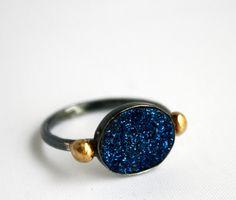 Blue Drusy Ring