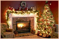 69 best Christmas Fireplace Mantels images on Pinterest | Christmas ...