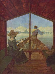 Carl Gustav Carus.  Gondelfahrt auf der Elbe bei Dresden.1827, Öl auf Leinwand, 29 × 22cm.Düsseldorf, Kunstmuseum.Deutschland.Romantik.  KO 00133