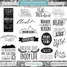 Inspirational Mountain Clip Art - Word Art & Quotes - Digital Stamps - Climb - Photoshop Brushes