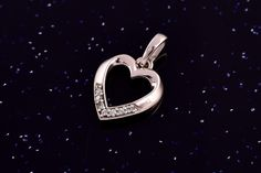 Zlatý přívěsek srdce bílé se zirkony P046 1,15g