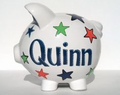 Personalized Piggy Bank Custom Hand-painted por SamselDesigns Green And Orange, Orange Color, Personalized Piggy Bank, Double Dot, Star Designs, Design Show, Color Show, All The Colors, Paint Colors