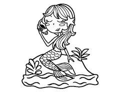 Dibujo de Sirena manga para Colorear  Dibujos de Sirenas  Pinterest