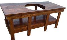 The Big Show's Big Green Egg Table in Cedar