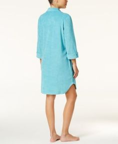 Charter Club Snap Front Terry Robe, Only at Macy's - Purple S