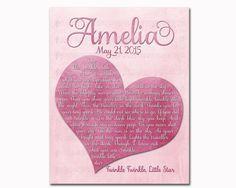 Customized pink nursery wall art custom christening gift Girls Room Wall Decor, Playroom Decor, Nursery Wall Art, Kids Artwork, Kids Room Art, Christening Gifts, Wall Prints, Handmade Gifts, Pink
