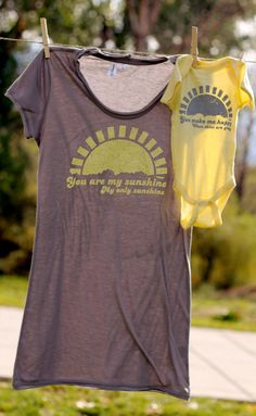LOVE!  C likes me to sing this song to him at bedtime, tear....  Mommy and Me Shirt Set: You Are My Sunshine (You Choose Size). $30.00, via Etsy.