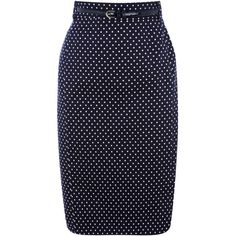 Polka Dot Belted Skirt ($75) ❤ liked on Polyvore featuring skirts, blue, bottoms, faldas, gonne, women, pencil skirts, cotton pencil skirt, dot skirt and cotton skirts