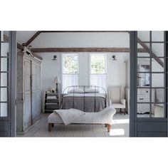 This serene beautiful bedroom has always been a favorite. #nancyfishelson #beautifulbedrooms #farmhouse #gray