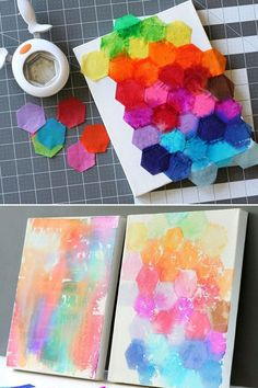 Tissue paper cut-outs on canvas.  Spray with water until the colors begin to bleed.  Allow to dry completely, tip canvas and tissue should fall off.  If it doesn't, allow to dry more.  Coat with a clear coat preserver.  (Some tissue is color-fast and won't bleed; test first.)