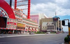Harrah's Las Vegas (1995). The 1970s-era riverboat was soon demolished. The Imperial Palace and the towers of the Flamingo Hotel also visible. Photographed by Chris Flanders