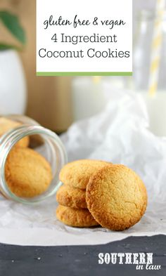Easy 4 Ingredient Coconut Cookies Recipe - Homemade cookies just don't get easier than this. A simple twist on coconut macaroons, this healthy cookie recipe is gluten free, paleo, vegan, sugar free and clean eating friendly. Paleo Cookie Recipe, Gluten Free Cookie Recipes, Healthy Cookie Recipes, Gluten Free Cookies, Healthy Cookies, Vegan Gluten Free, Paleo Vegan, Vegan Sugar, Diabetic Desserts